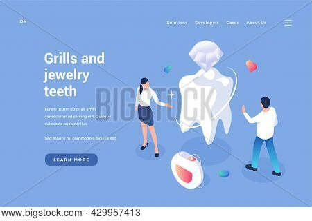 Inserting Jewelry Into Teeth. Aesthetic Dentistry With Elite Materials. Installation And Prosthetics