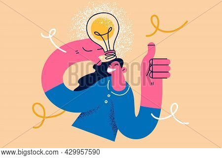 Great Creative Idea And Innovation Concept. Young Smiling Woman Cartoon Character Standing Showing T