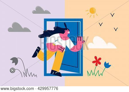 Various Seasons And Weather Concept. Young Smiling Woman Cartoon Character Running Out Of Door From