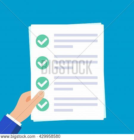 Hands Holding Papers With Claim Form On It, Paper Sheets, Check Marks Tick Ok In The Circle On The L