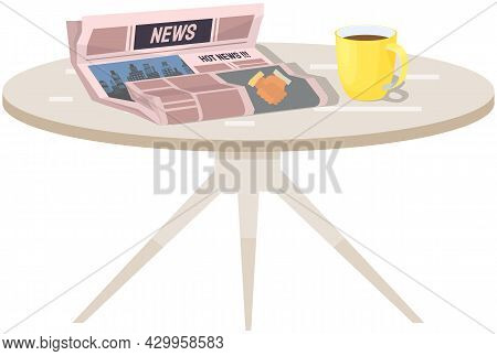 Paper Publication, Morning Report. Publishing Article, Newspaper About Business, City Life On Table