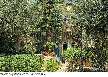 Jerusalem, Israel - June 12, 2021: Old Houses In Yemin Moshe District, Jerusalem, Israel.