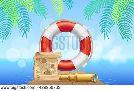 Marine Inventory On Tropical Background. Lifebuoy, Treasure Map And Spyglass For Being At Sea. Pirat