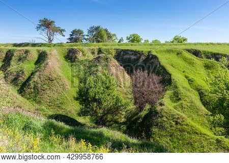 Gorge Slope With Steep Ravines, Overgrown With Grass And Single Trees Against The Sky In Springtime