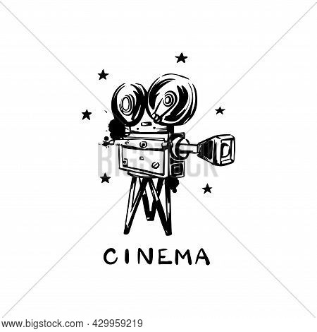 Vintage Old Movie Camera On A White Background. Cinema. Hand-drawn Paint And Vector Hand-drawn Illus