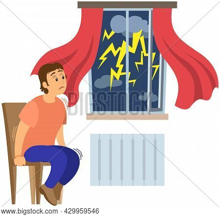 Terrified Man Shocked By Thunder And Lightning. Guy Frightened By Thunderstorm. Person Suffers From