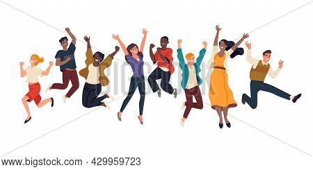 Happy Jumping People. Joyful Young Men And Women, Energetic Multinational Persons Group, Cheerful Fr
