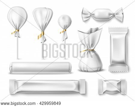 Candy Wrappers. Realistic Different Sweets White Empty Paper And Plastic Packaging, Sugar Food Delic
