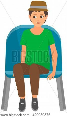 Guy In Hat Sitting On Chair And Watching Show Isolated On White Background. Young Male Character In