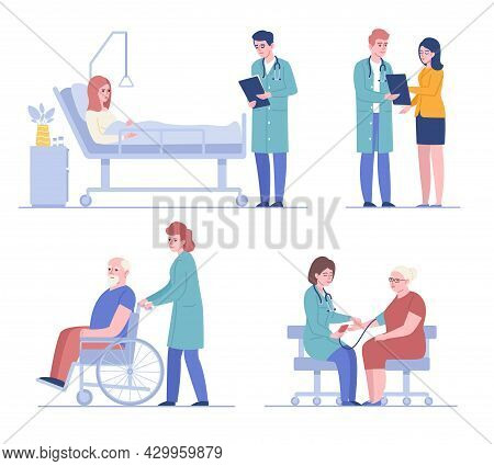 Doctors And Patients. Medical Staff And Clinic Visitors, People Examination, Diseases Treatment, Hea