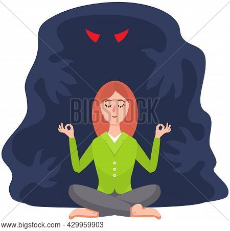 Calm Woman And Shadow Monster Behind Her. Fear Of Darkness. Female Meditates Near Spooky Ghost With