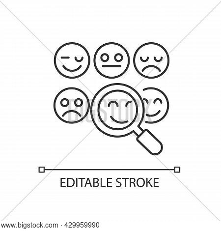 Reading Emotions Linear Icon. Face-to-face Communication. Non-verbal Cues. Emotional Display. Thin L