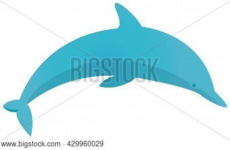 Blue Dolphin Swimming On White Background. Ocean Animal, Big Fish Cartoon Nautical Character Lives I