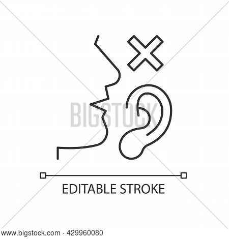 Language Disabilities Linear Icon. Physiological Barriers To Communication. Sensory Dysfunction. Thi