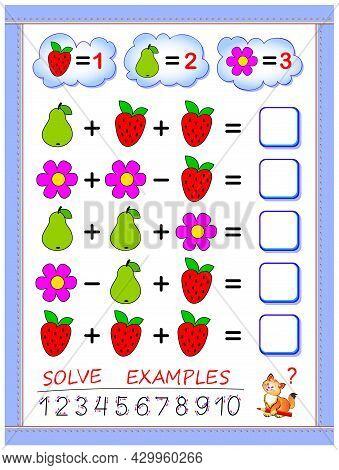 Educational Page For Little Children On Addition And Subtraction. Printable Worksheet For Kids Mathe
