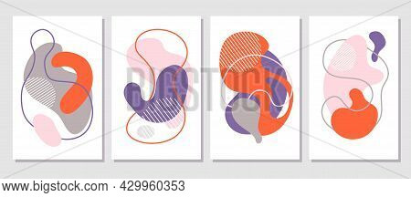 Abstract Shapes Contemporary Cards. Creative Art Posters, Pastel Wall Decoration. Fashion Modern Art