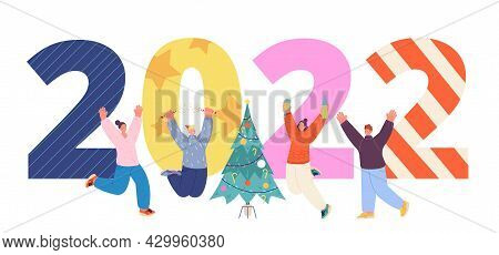 New Year 2022 Celebrating. People Celebrate, Happy Friends And Giant Numbers. Christmas Holiday Char