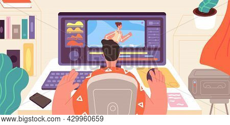 Animator At Work. Artist Animation Games, Motion Model Graphic. Designer Works At Computer In Home O