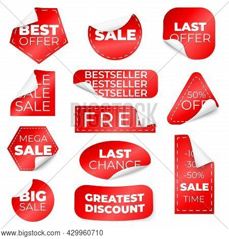 Red Curled Sale Stickers. Discount Labels With Curl Edge, Low Pricing Tags. Isolated Store Badges, C