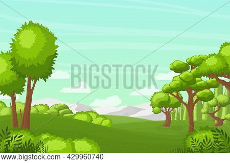 Tree And Hill Landscape. Green Pastures, Mountains And Bushes. Blue Sky With White Clouds, Beautiful