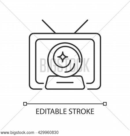 Mystic Show Linear Icon. Mystery Series On Television Channel. Fiction Movie And Film. Thin Line Cus