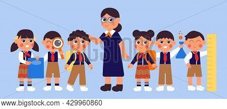 Teacher With Students. Happy School Student, Children In Uniform And Woman. Preschool Kids, Cute Col