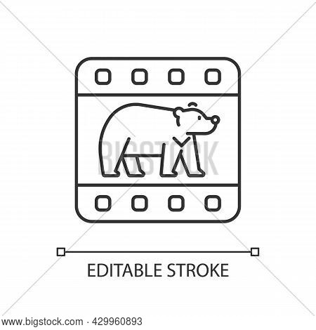 Wildlife Documentary Linear Icon. Educational Television Series About Animals. Watch Film. Thin Line