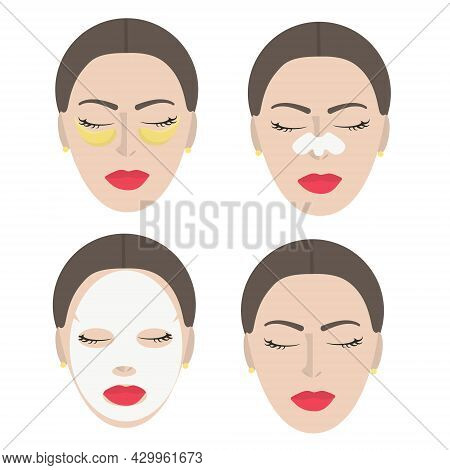 Vector Set Of Female Faces With Home Self-care. Four Young Female Faces With A Moisturizing Face Mas