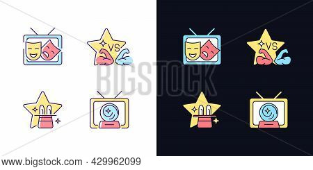 Tv Shows Genres Light And Dark Theme Rgb Color Icons Set. Drama Series. Talent Contest. Mystical Ser