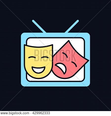 Tv Drama Rgb Color Icon For Dark Theme. Theatrical Performance Translation On Display. Comedy Acting
