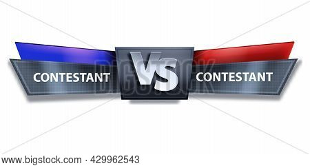 Vs Fight Esport Game Vector Banner, Versus Boxing Duel Isolated Logo, Abstract Team Challenge. Metal