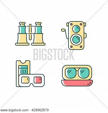 Authentic Vintage Rgb Color Icons Set. Collectible Binoculars. Old Photo Camera. Retro Movie Theater