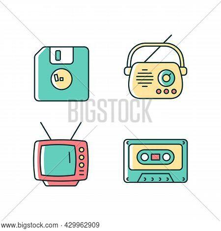 Collectible Vintage Stuff Rgb Color Icons Set. Floppy Disk. Antique Radio. Tv Model. Tape Cassette.