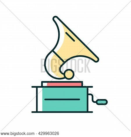 Gramophone Rgb Color Icon. Phonograph Records. Turntable Device For Mechanical Sound Reproduction. H