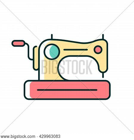 Antique Sewing Machine Rgb Color Icon. Older Device For Stitching Material. Collectible Equipment Wi