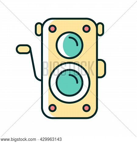 Old Photo Camera Rgb Color Icon. Optical Instrument For Visual Image Capturing. Vintage Photography