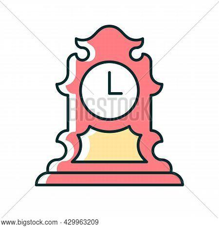 Vintage Tabletop Clock Rgb Color Icon. Antique Table Clock. Collectible Rare Item. Retro Timepiece.