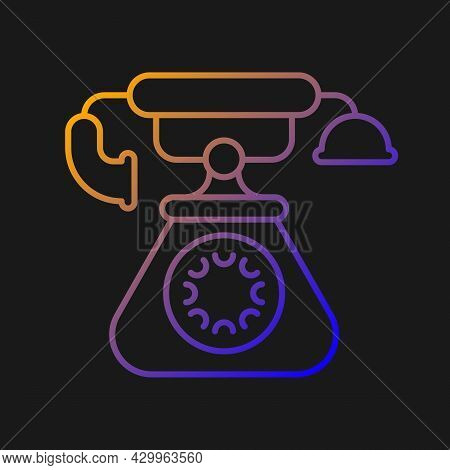 Vintage Telephone Gradient Vector Icon For Dark Theme. Old School Rotary Phone. Candlestick Telephon