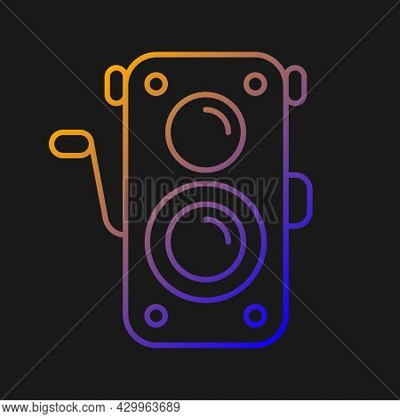 Old Photo Camera Gradient Vector Icon For Dark Theme. Optical Instrument For Image Capturing. Vintag