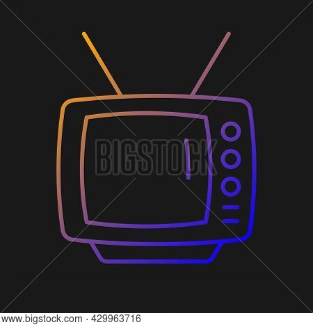 Old-style Television Gradient Vector Icon For Dark Theme. Tv Older Model. Transmitting Moving Images