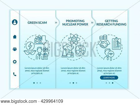 Green Scam Onboarding Vector Template. Promoting Nuclear Energy. Responsive Mobile Website With Icon