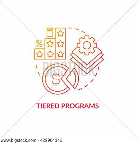 Tiered Programs Red Gradient Concept Icon. Different Levels Of Loyalty Program Abstract Idea Thin Li