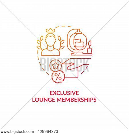 Exclusive Lounge Memberships Red Gradient Concept Icon. Premium Lounge Access For Loyal Clients Abst
