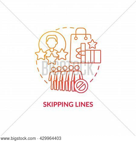 Skipping Lines Red Gradient Concept Icon. Perks And Benefits Of Loyalty Program Abstract Idea Thin L
