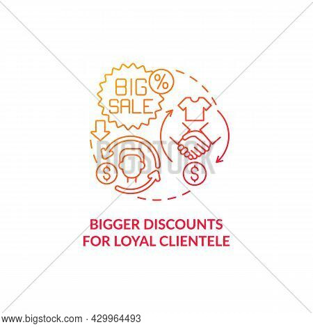 Bigger Discounts For Loyal Clientele Red Gradient Concept Icon. Client Privilege Abstract Idea Thin