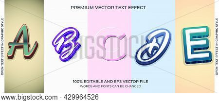 Bundle Of Editable Text Effect Design Vector. Set Of Editable Text Effect Design. Modern Editable Te