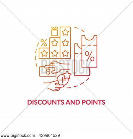 Discounts And Points Red Gradient Concept Icon. Reward System For Customers Abstract Idea Thin Line