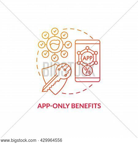 App-only Benefits Red Gradient Concept Icon. Mobile App Bonuses For Loyal Clients Abstract Idea Thin