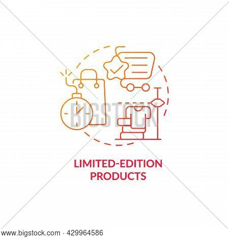 Limited-edition Products Red Gradient Concept Icon. Exclusive Product Offer Abstract Idea Thin Line
