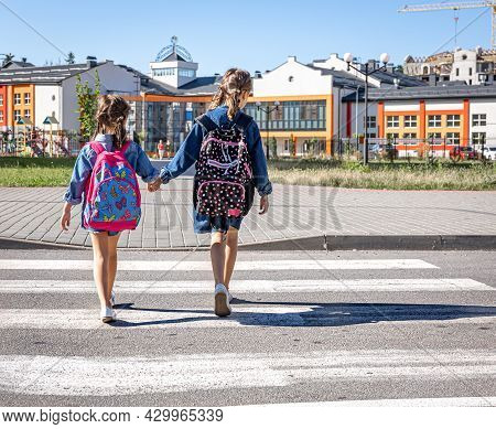 Primary School Students Go To School, Holding Hands, First Day Of School, Back To School.